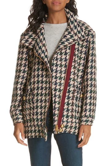 Elke Houndstooth Bomber Jacket, Teal Multi