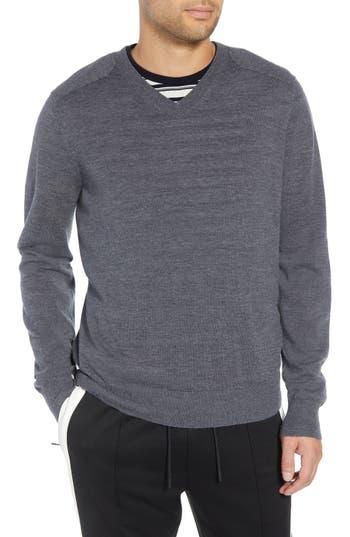 Vince Regular Fit Elbow Patch Merino Wool Sweater, Grey