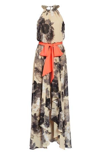 1960s – 70s Cocktail, Party, Prom, Evening Dresses Womens Eliza J Floral Print Chiffon Maxi Dress Size 16 - Beige $138.00 AT vintagedancer.com