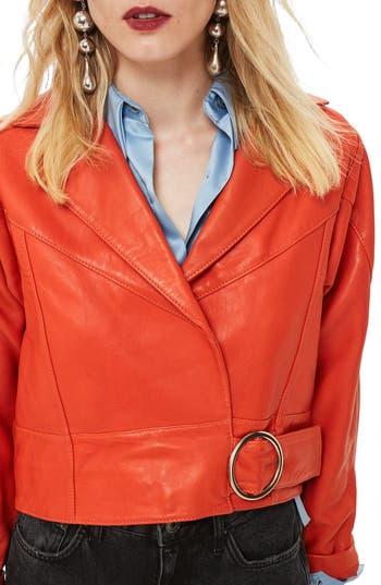 Vintage Coats & Jackets | Retro Coats and Jackets Womens Topshop Crop Leather Moto Jacket $215.99 AT vintagedancer.com