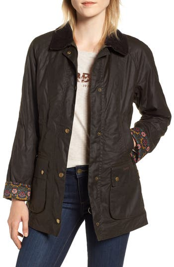 Barbour X Liberty Abbey Waxed Cotton Jacket, US / 8 UK - Green
