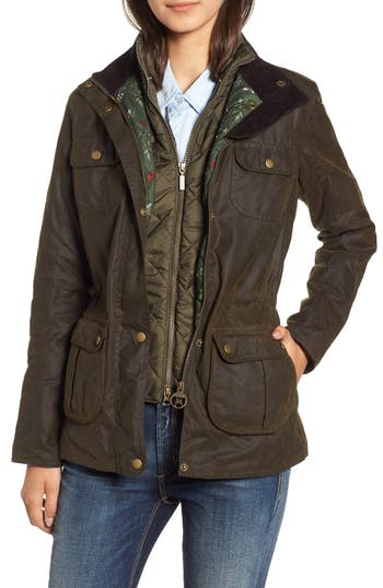Barbour Chaffinch Water Resistant Waxed Cotton Jacket, US / 8 UK - Green