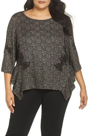 Plus Size Ming Wang Sequin Asymmetrical Hem Top, Brown