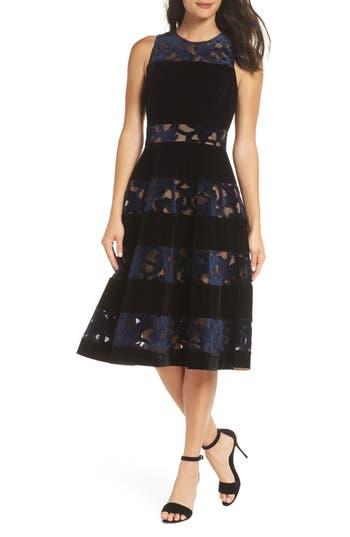 ADELYN RAE Skyler Fit & Flare Midi Dress, Navy-Black