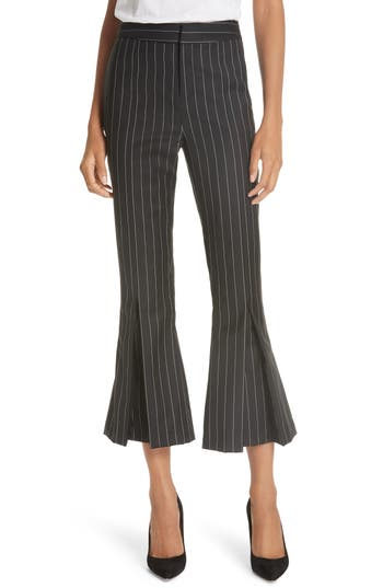 Frame Pleated Flare Hem Wool Blend Pants, Black