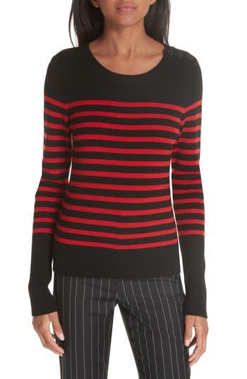 Frame Button Shoulder Stripe Merino Wool Sweater, Black