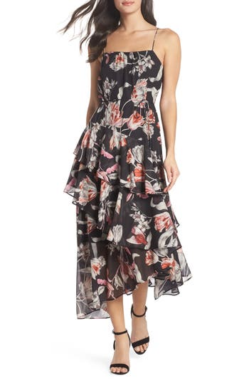 Cooper St Harlow Floral Midi Dress, Black