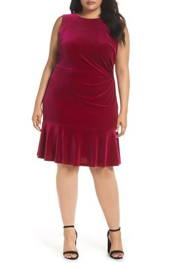 1920s Plus Size Flapper Dresses, Gatsby Dresses, Flapper Costumes Plus Size Womens Eliza J Velvet Ruffle Hem Dress $138.00 AT vintagedancer.com