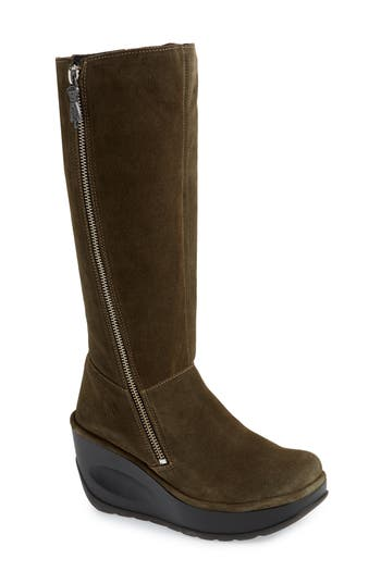Fly London Jate Wedge Boot - Green