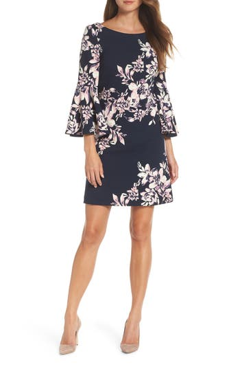 Eliza J Floral Bell Sleeve Shift Dress, Blue