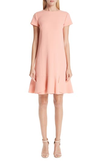 Oscar De La Renta Ruffle Hem Stretch Wool Shift Dress, Pink
