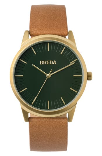 Breda Bresson Leather Strap Watch,