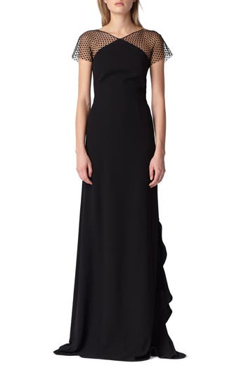 Ml Monique Lhuillier Swiss Dot & Crepe Gown, Black