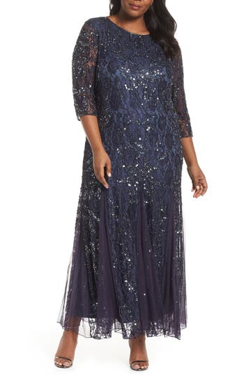 1920s Style Dresses, Flapper Dresses Plus Size Womens Pisarro Nights Beaded Lace Gown $232.00 AT vintagedancer.com