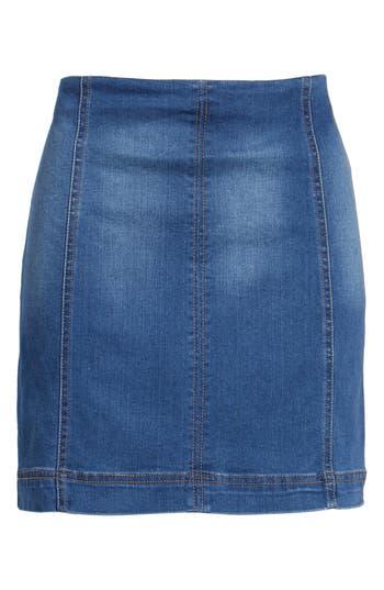 Tinsel Denim Miniskirt, Blue
