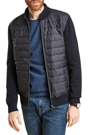Barbour Carn Baffle Front Knit Jacket, Blue