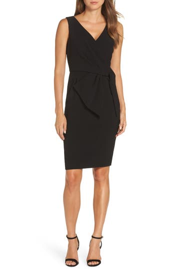 Eliza J Faux Wrap Sheath Dress, Black