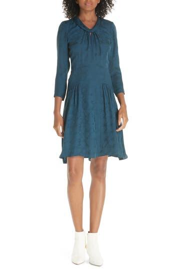 Rebecca Taylor Silk Jacquard Dress, Blue/green