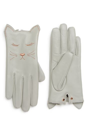 Ted Baker London Cat Leather Touchscreen Gloves, Grey