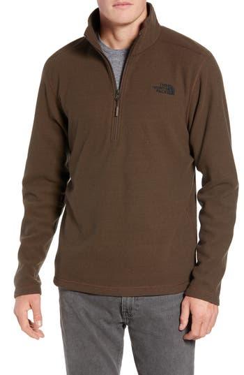 The North Face Texture Cap Rock Quarter Zip Fleece Jacket, Brown