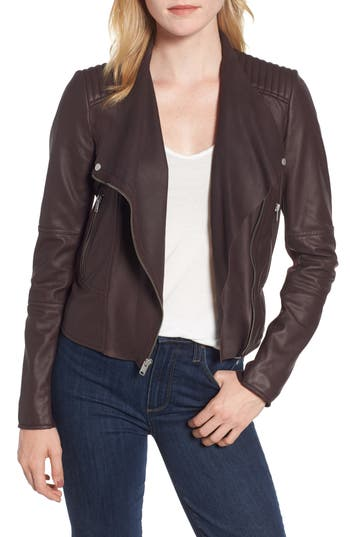MARC NEW YORK Pelham Asymmetrical Zip Leather Scuba Jacket in Black