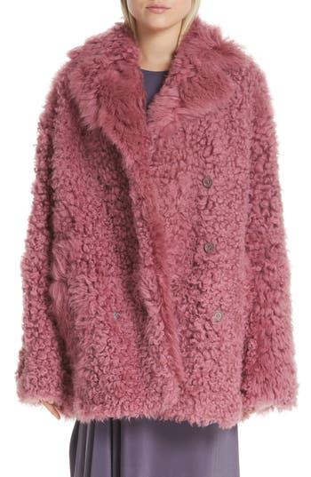 Sies Marjan Peact Pippa Genuine Shearling Peacoat, Pink