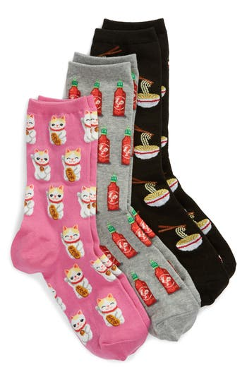 3-Pack Ramen Socks, Black