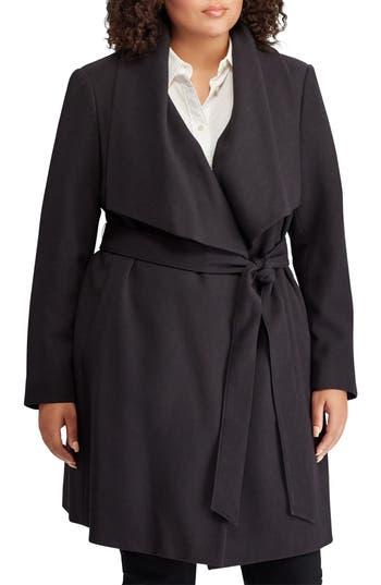 Plus Size Lauren Ralph Lauren Wrap Coat, Grey