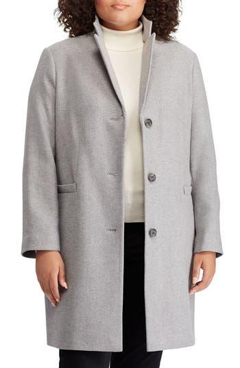 Plus Size Lauren Ralph Lauren Herringbone Wool Blend Reefer Coat, Grey