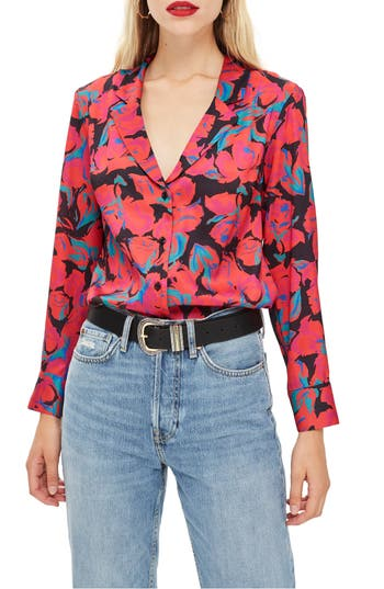 Topshop Floral Pajama Style Shirt, US (fits like 0) - Black