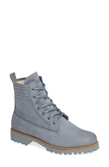 Blackstone Ol22 Lace-Up Boot With Genuine Shearling Lining Blue
