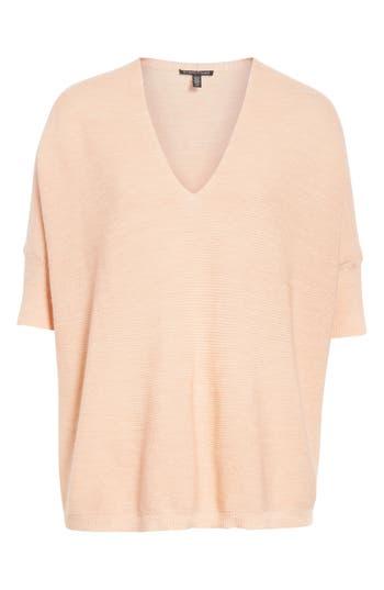 Eileen Fisher Merino Wool Three Quarter Sleeve Sweater, Pink