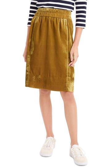 Plus Size J.crew Pull-On Velvet Skirt, Size - Metallic