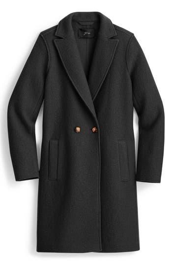 Plus Size J.crew Daphne Boiled Wool Topcoat, Black