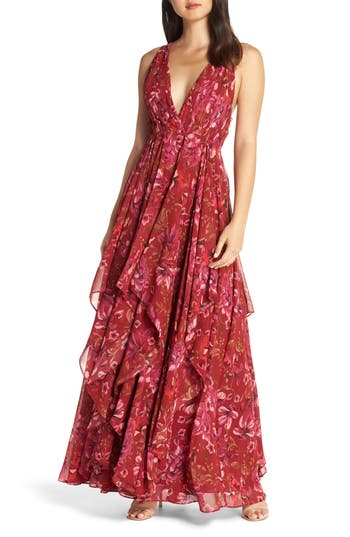 Fame And Partners The Lana Gown, Burgundy