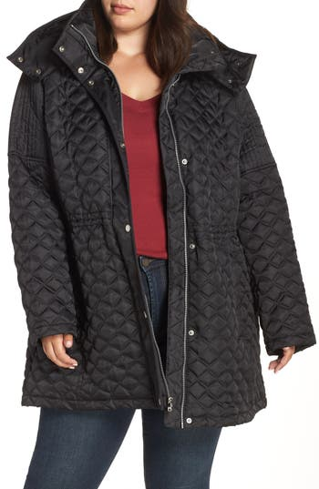 Plus Size Marc New York Quilted Coat With Detachable Hood