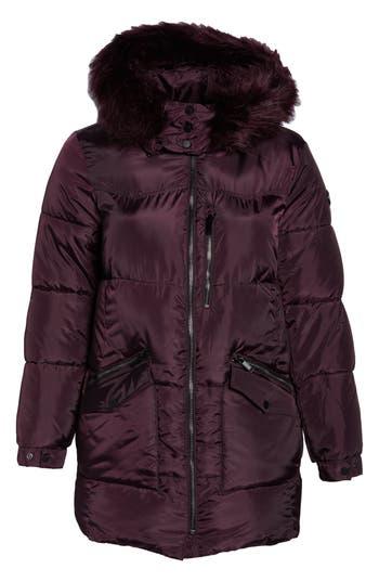 Plus Size Rachel Rachel Roy Faux Fur Trim Hooded Puffer Jacket, Red