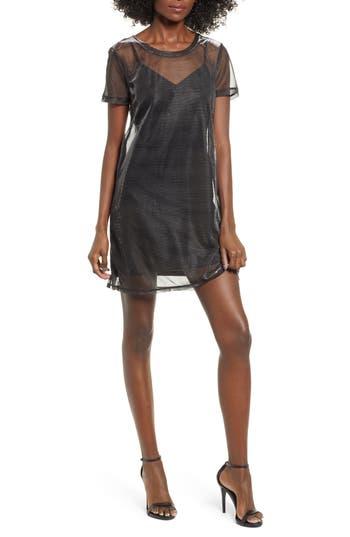 Love, Fire MESH OVERLAY T-SHIRT DRESS
