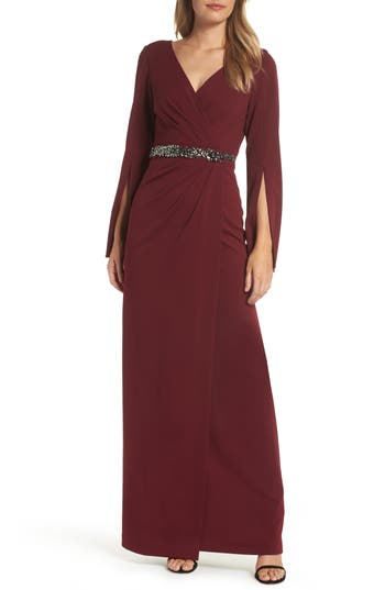 Adrianna Papell Faux Wrap Gown, Red