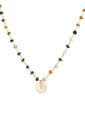 Women's Nashelle 14K-Gold Fill Mini Initial Disc Tourmaline Chain Necklace