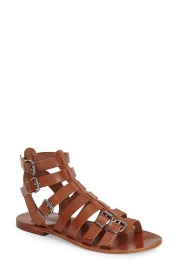 Women's Topshop 'Favorite' Flat Gladiator Sandal, Size 6.5US / 37EU - Brown