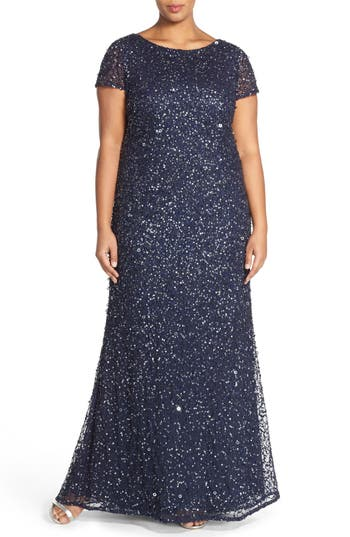 1930s Art Deco Plus Size Dresses | Tea Dresses, Party Dresses Plus Size Womens Adrianna Papell Embellished Scoop Back Gown Size 14W - Blue $288.07 AT vintagedancer.com