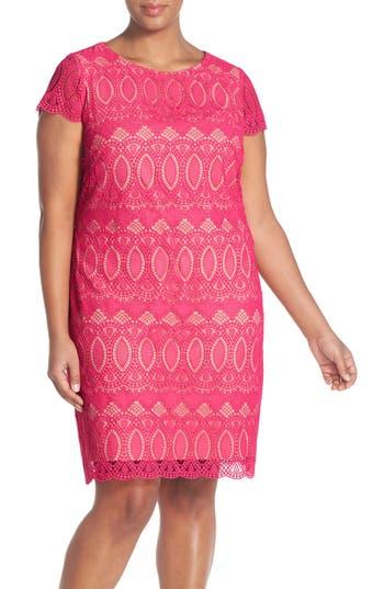 Plus Size Women's Eliza J Cap Sleeve Lace Shift Dress, Size 14W - Pink