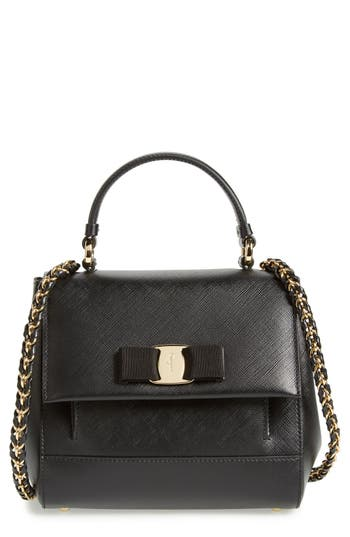 Salvatore Ferragamo Small Saffiano Leather Bow Top Handle Satchel - Black