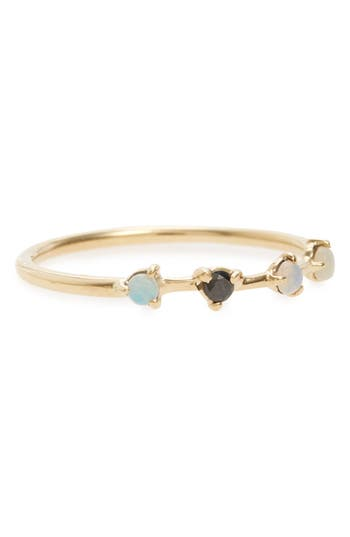 Women's Wwake Counting Collection Four-Step Opal & Black Diamond Ring