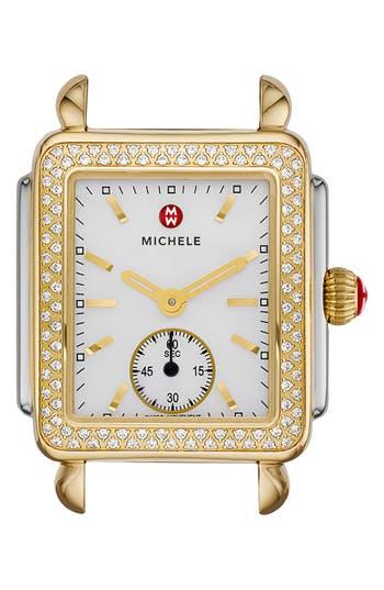 Women's Michele Deco 16 Diamond Two-Tone Watch Head, 29Mm X 31Mm