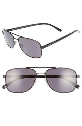 Men's Boss '0762/s' 58Mm Polarized Navigator Sunglasses - Matte Black