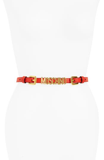 Women's Moschino Logo Plate Chain Belt, Size 46 - Red