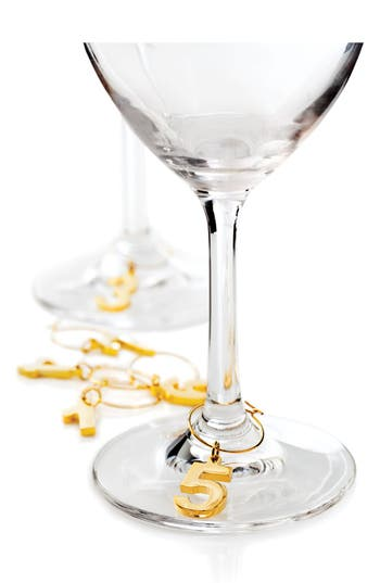 True Fabrications Set Of 6 Gold Plated Wine Charms