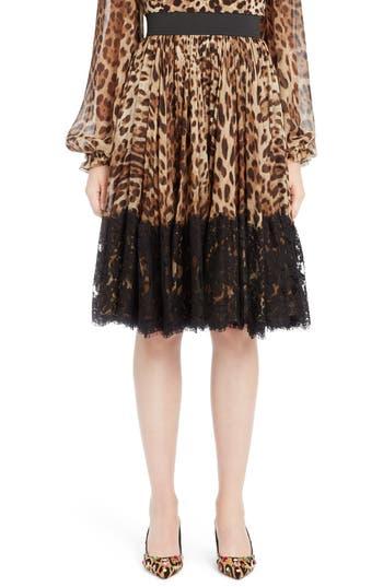Dolce & Gabbana Silks LACE OVERLAY LEOPARD PRINT CHIFFON FULL SKIRT